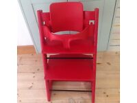 Stokke tripp trapp high chair with baby set and instructions red