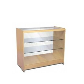GLASS FRONTED 2 SHELF MAPLE SHOWCASE COUNTER