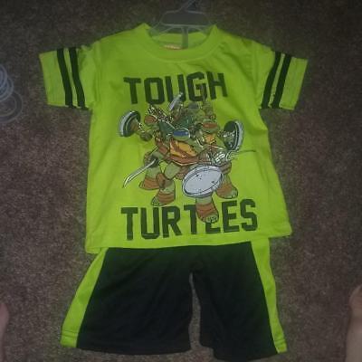 NEW BOYS KIDS TEENAGE MUTANT NINJA TURTLES 2 PIECE OUTFIT SHORTS TMNT SIZE - Boys Ninja Outfit