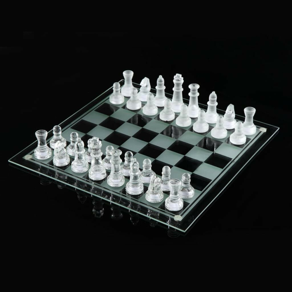 Glass Chess Board Set - Transparent and White Glass