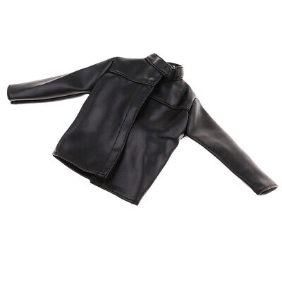 1:6 Black PU Leather Jacket Coat Clothes for 12inch Male Phicen Figure Toys](Black Leather Jacket For Boys)