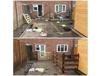 Fencing, gates, sheds, decking and patio.