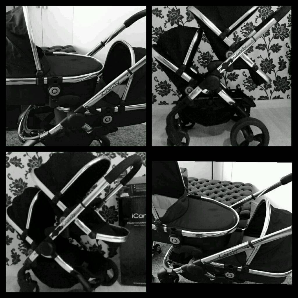 Icandy peach 3 Black Magic Twin Double Buggy Pram twins pushchair I candy Carrycot