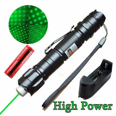 Military 5 Miles 532nm Green Laser Pointer Pen Visible Beam Star Cap + Battery on Rummage