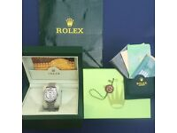 Rolex day date complete box set silver face silver bezel and strap