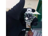 New Mens boxed silver Bracelet black dial green ceramic bezel K ONE Rolex submariner watch 50th