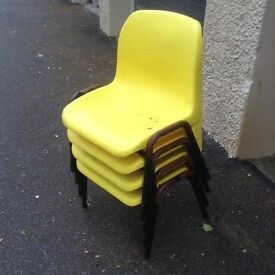 Yellow Kids' School Chairs - set of 4