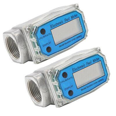 2pcs 1 Inch Turbine Digital Diesel Water Fuel Flow Meter Oval Gear Gauge