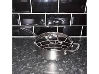 Heavy duty stainless steel frying Pan with lid from Sainsbury's