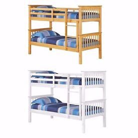 Same Day Delivery= Best Quality == Brand New White Or Pine Wooden Bunk Bed with mattresses