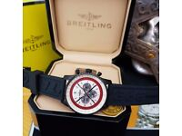 New Mens bagged and boxed breitling navitimer red arrow chronograph watch with rubber strap