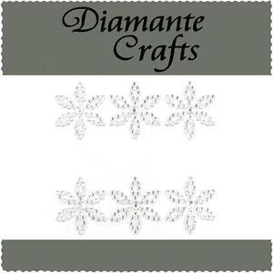 6 Clear Diamante Flowers Vajazzle Rhinestone Body Art Self Adhesive Gems