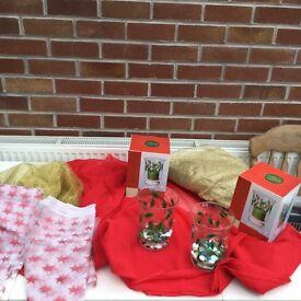 Christmas candle jars and fabrics