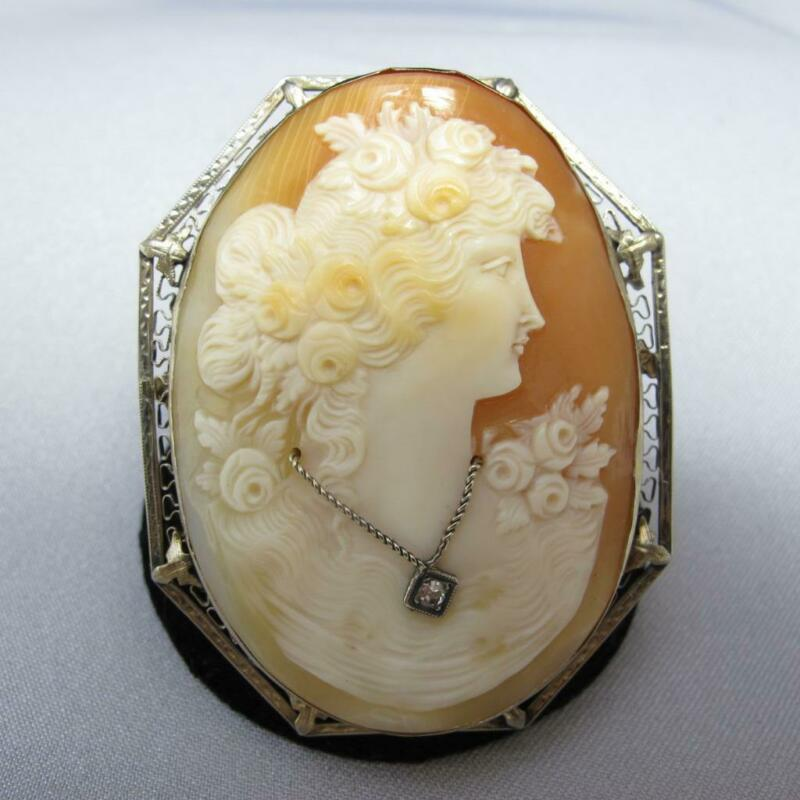 Vintage 14K White Gold Adorned with Roses Lady Shell Cameo w/Diamond 19g #J609