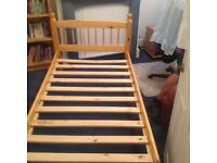 Pine frame single bed and mattress