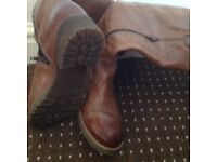 Ladies tan real leather boots size 6