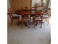 YEW Expanding DINING TABLE AND SIX CHAIRS