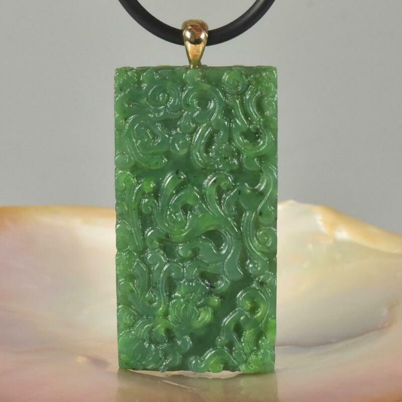 Green Nephrite Jade Gemstone Carving Pendant Aceh Sumatra Indonesia 39.88 g