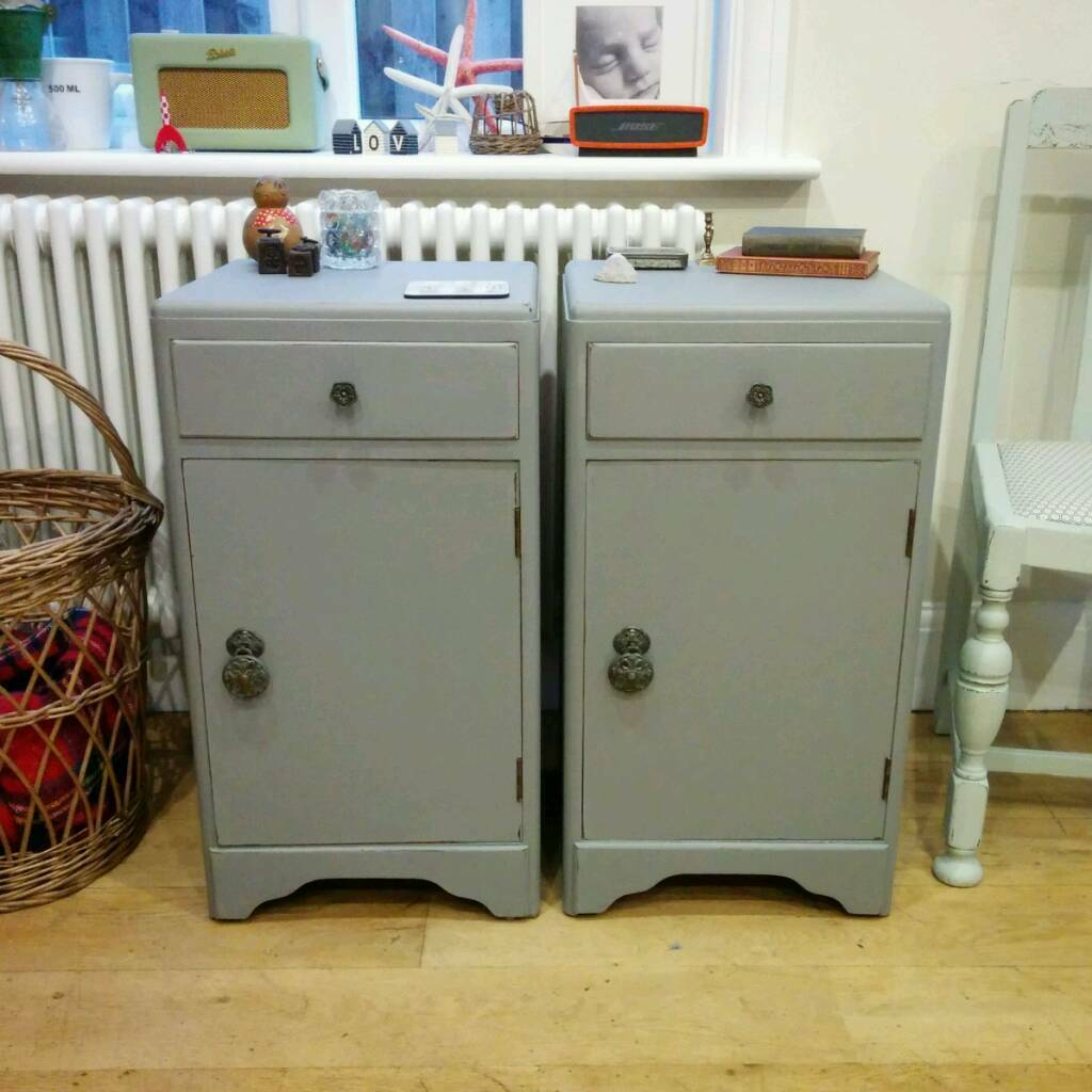 Pair Of Vintage Bedside Lockers Cabinets Tables