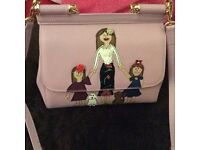 Dolce Gabbana sicily small tote family patch pink mummy with 2 girls
