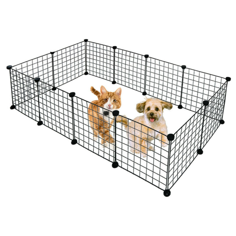 Metal Pet Playpen Dog Kennel Pets Fence Exercise Cage 12 Pan