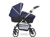 Silver Cross Wayfarer Black\Chrome Pram Pushchair - Vintage Blue Hood and Apron