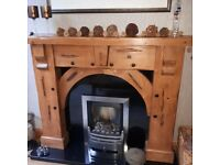 Wooden Fire surround, granite hearth and backing panel