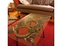 "Bespoke Handmade ""Engineers"" Coffee Table. 800x480x480mm Tempered Glass Top."