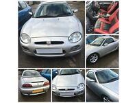 MG MGF STEPTRONIC SPORT 2000 1.8 SILVER PETROL hard top roof all parts