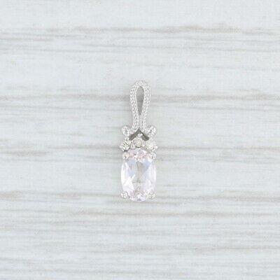 Small Morganite Diamond Drop Pendant 14k White Gold Oval Solitaire Morganite White Pendant