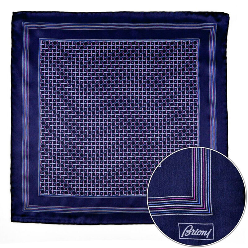 $150 New BRIONI Navy Pink Swirl Silk Hand Rolled Pocket Square Handkerchief