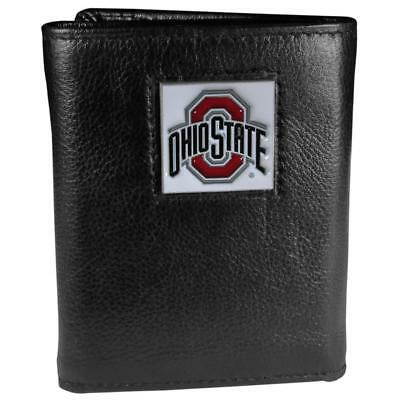 Ohio State Buckeyes Leather Trifold Wallet Black