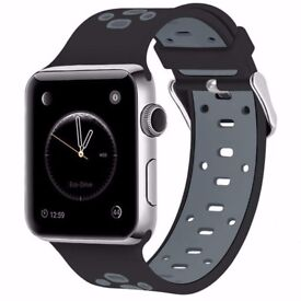 Watchband/Strap Replacement For Apple Watch Strap, black and Grey 38mm Nike+ Style