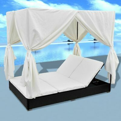 Outdoor Patio Furniture Poolside Sun Lounge Bed Rattan Sunbed With Curtains J8W2 ()