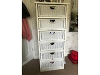 Tall boy 6 drawer rattan