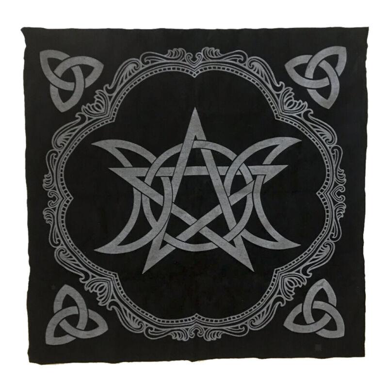 Altar Tarot Table Cloth Triple Moon Pentagram Divination Velvet Tapestry Black