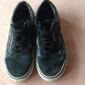 VANS trainers. 2 pairs of size 4 one camouflage with black trim and one dark grey with red trim.