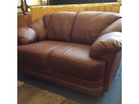 Burgundy leather small 2 seater like new condition