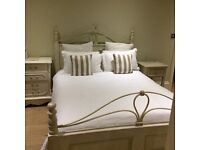 French style king sized bed + bedside table + mirror