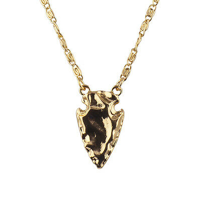Lux Accessories Gold Tone Boho Tribal Hammered Arrowhead Pendant Necklace