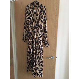 Silk Fred Satin Leopard Print Maxi
