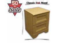 BRAND NEW Schreiber 2 Drawer Bedside Chest - Classic Oak 213509 - Flat Packed Sale Must Go