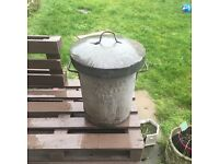 Vintage galvanised garden bin