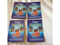Mattel play tickets x 4 for adult or child