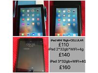 iPad Mini 16gb+4g,iPad 2*32gb+4G,iPad 3*32gb+4G, Samsung Tab 2
