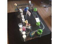 Coffee table, glass top.