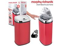 Brand New/Warranty CLEARANCE Morphy Richards Square Touch Free Sensor Bin Red Round/Square