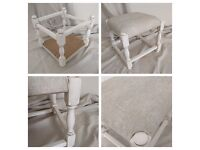 "Shabby Chic Footstool Stool Cream ""Lacey Plain"" Designer Chenille Fabric by Next NEW upcycled"