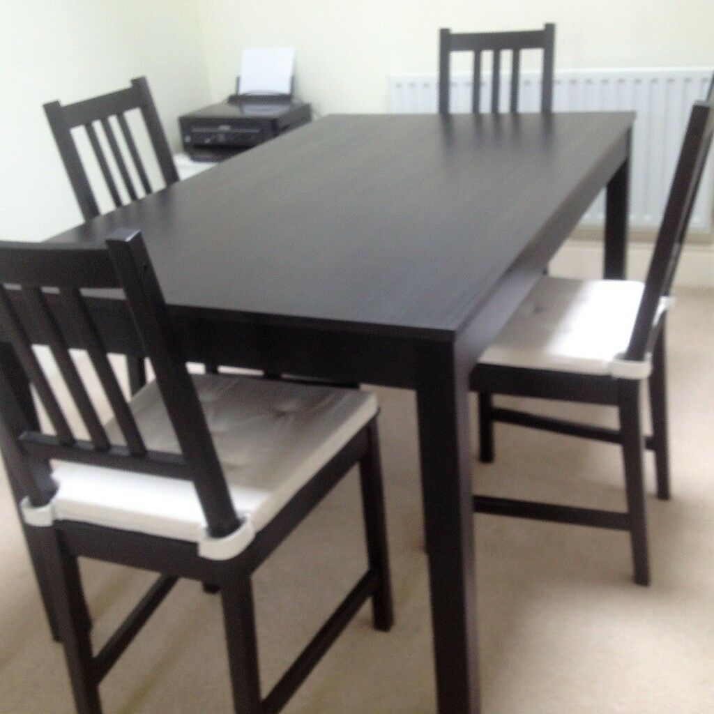 ikea brown black dining table 4 chairs in excellent condition in market harborough. Black Bedroom Furniture Sets. Home Design Ideas