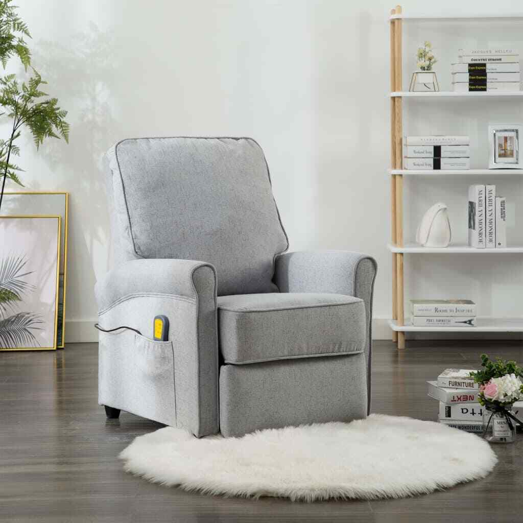 vidaXL Massagesessel Elektrisch Hellgrau Stoff Fernsehsessel Relaxsessel